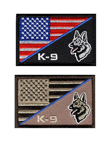 K-9 Usa American Flag Thin Blue Line Police Swat Tactical Morale Hook Patch (Bundle-PK2-PK3)