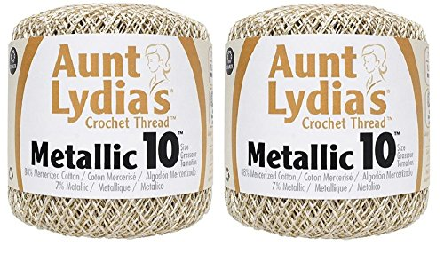 Aunt Lydia's Crochet Cotton Metallic Crochet Thread Size 10 (2 - Pack) (Natural/Gold)