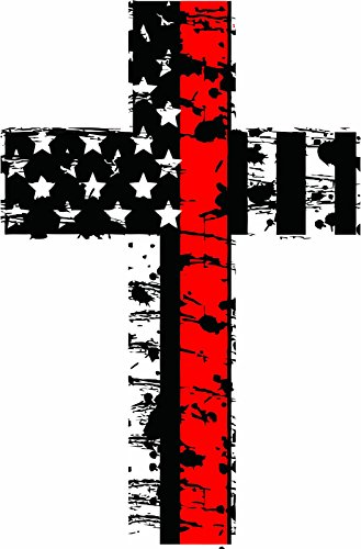Evan Decals Thin Red line Distressed American Flag Firefighter Cross Reflective Decal Vinyl Sticker 4