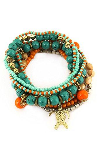 Aris Bohemian Wood & Turquoise Beaded Stretch Bracelets Stack Bundle: Bracelets & Bag (Turtle Charm Turquoise) (Turtle Stack)