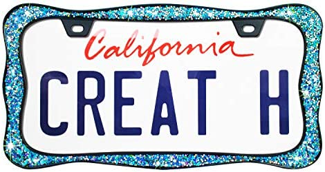 Black Powder Coated with Chunky Gliter creathome 3D Shining License Plate Frame Pure Zinc Alloy Metal