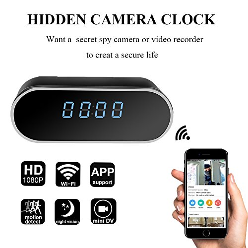 YCTONG Wifi Alarm Clock Hidden Spy Camera Night Vision/HD 1080P/Motion Detection Surveillance Security Cam for Home Office Nanny ()
