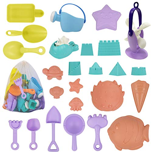 ToyerBee Sand Toys - 26Pcs Beach Toys with Molds, Wheel, Shovel, Castle, Bag- Toys for Boys & Girls & ToddlersToyerBee Sand Toys - 26PCS Beach Toys with Molds, Wheel, Shovel, Castle, Bag- Toys for Boy