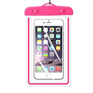 """Universal Waterproof Case,iBarbe Cellphone Dry Bag Pouch Outdoor for iPhone 7 6s 6 Plus SE 5s 5c 5, Galaxy s8 s7 s6 edge, Note 5 4, LG G6 G5,HTC 10,Sony Nokia, diagonal Devices up to 5.7""""(pink)"""