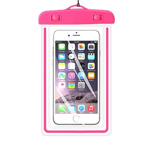 "Universal Waterproof Case,iBarbe Cellphone Dry Bag Pouch Outdoor for iPhone 7 6s 6 Plus SE 5s 5c 5, Galaxy s8 s7 s6 edge, Note 5 4, LG G6 G5,HTC 10,Sony Nokia, diagonal Devices up to 5.7""(pink)"