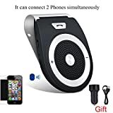 Bluetooth Car Speaker, Handsfree Car Visor Speakerphone Bluetooth Phone Speaker for Car Wireless Bluetooth In-car Speakerphone Stereo Music Player Built-In Mic with Car Charger [Upgraded Speaker]