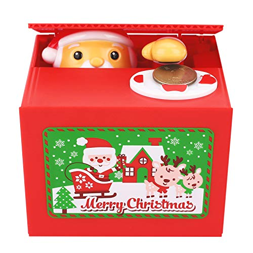 Peradix Stealing Coin Santa Claus Box Piggy Bank English Speaking Christmas Song for All ()