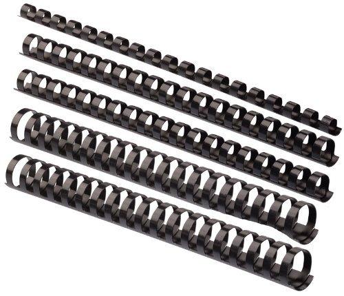 Plastik-Binderücken Sortiment 160-teilig (6 - 22 mm / max. ca. 190 Blatt), schwarz