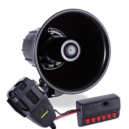 Pyle 6 Tone Sound Car Siren Vehicle Horn w/ Mic PA Speaker System Emergency Sound Amplifier, 30W Emergency Sounds Electric Horn-Hooter, Ambulance, Siren, Traffic Sound, PA Microphone System - Car Megaphone