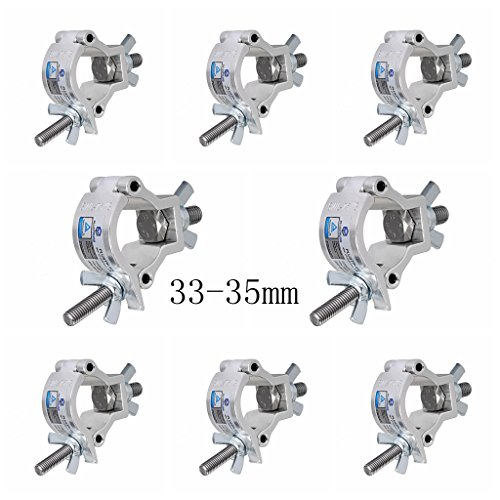 Stage Light Clamp (8pcs) Aluminum Mounting 1-1/4 to 1-3/8inch (33-35mm) OD Tubing/Pipe for Led Par Light Max Load 165lb
