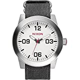 NIXON A243-100 Men's Corporal, Analog Display Quartz Watch, Grey Canvas Band, Round 48mm Case