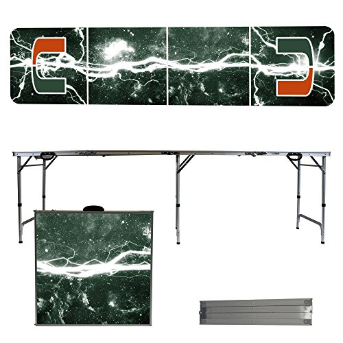 NCAA Miami Hurricanes Lightning Version Portable Folding Tailgate Table, 8' by Victory Tailgate