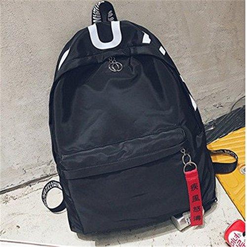 Studenten Buchstaben Bänder nylon dual Schultertasche große Kapazität Freizeit Rucksack Frau dual Schultertasche D a5EgF9