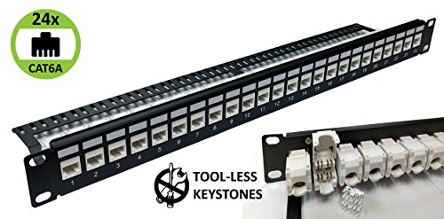 24-Port CAT6A Unshielded 1U Patch Panel 19-Inch Loaded w/Tool-less Keystone Jacks Rackmount or Wallmount by Electriduct