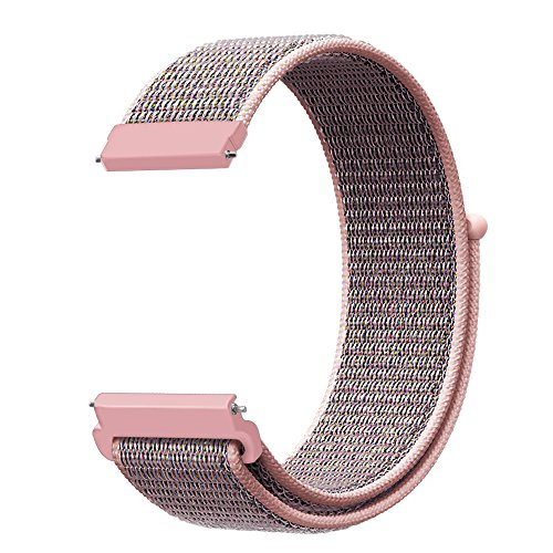 Fintie Band Compatible with Galaxy Watch 46mm / Gear S3 Frontier Classic Smartwatch, 22mm Lightweight Breathable Nylon Replacement Sport Loop Wrist Strap for Men Women - Pink Sand [Small] ()