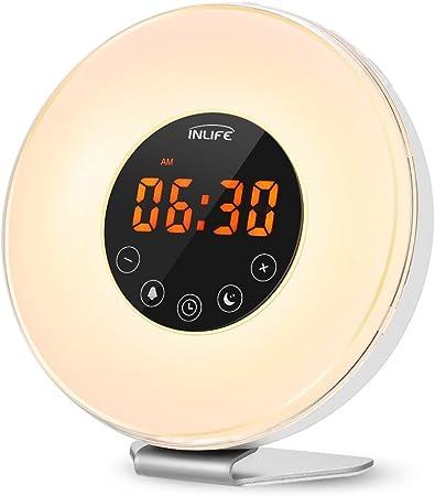 Wake Up Light L/ámpara Despertador Luz Nocturna Adaptador de LED Cable USB Control T/áctil Salida del Sol//Puesta del Sol funci/ón Snooze FM Radio