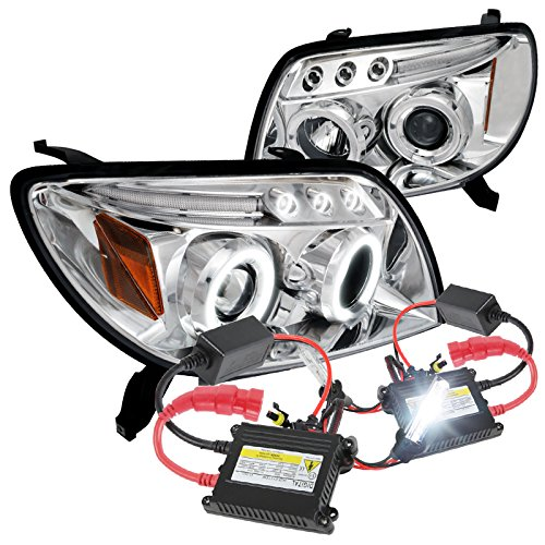 Toyota 4Runner Chrome Halo Led Projector Headlights+H1 6000K HID Conversion Kit (4runner Projector Headlights)