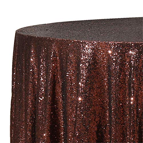 Poise3EHome 50-Inch Round Sequin Tablecloth for Party Cake Dessert Table Exhibition Events, Coffee ()