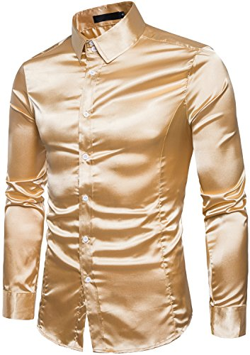 Men's Long Sleeves Shiny Satin Button Down Slim Fit Prom Dress Shirt, Golden, S