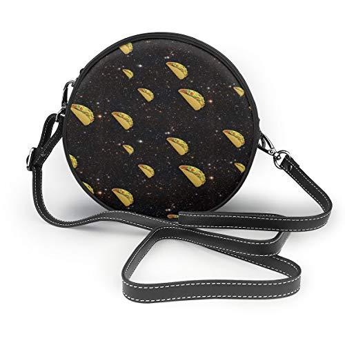 Tacos In Shine Pattern Round Shoulder Bag Crossbody Handbag Purse Messenger ()