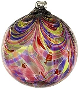 Kitras Art Glass Decorative Feather Ball, 6-inch, Gratitude