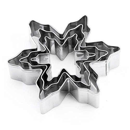 - LRZCGB Cookie Cutter Shape Heart Star Flower Decorating Mold Kitchen Stainless Steel Bakeware Tools (Snowflake)