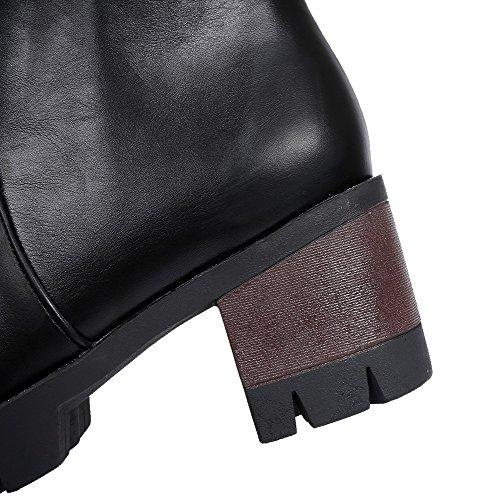 AgooLar Damen Mittler Absatz Rein Reißverschluss Mikrofaser Rund Zehe Stiefel Schwarz