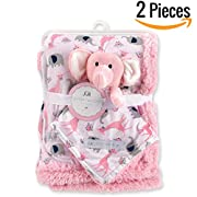 """Baby Blanket + Plush Toy + Neck Pillow 30"""" X 40""""— Swaddle Blanket- Security Blanket- Toddler Blanket- Soft Blanket- Plush Throw For Girls and Boys (Pink)"""