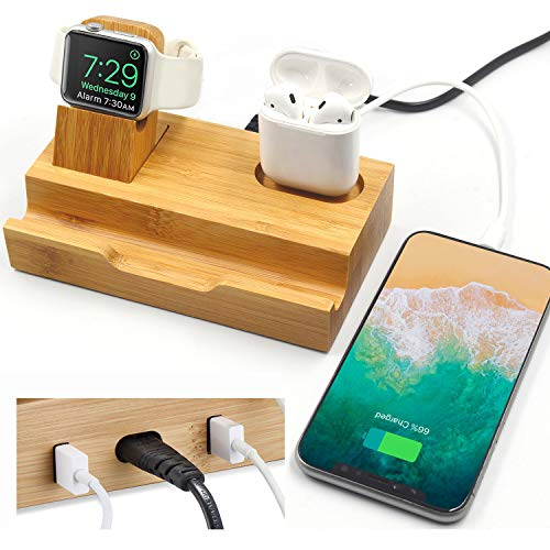 - WISION 3-Port Bamboo Charging Station Desk Dock Stock Cradle Holder Organizer, Charging Stand for Universal Multi Device, Compatible AirPods/Apple Watch/Cell Phone with Case