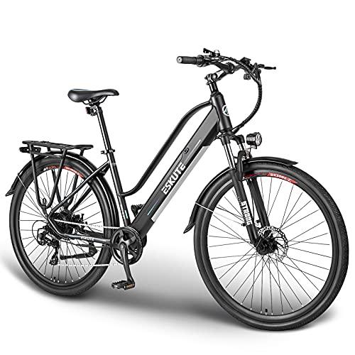 ESKUTE Elektrische Fiets Wayfarer 28″ Urban Ebike Trekking/Citybike met Uitneembare Lithium Batterij 36V 10Ah, 250W Achter Motor, Shimano 7 Versnellingen, Betrouwbare Metgezel voor het Dagelijkse Leven