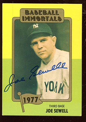 Baseball Immortals Baseball Card 163 Joe Sewell Autographed