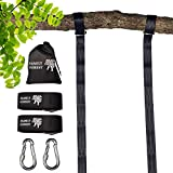 Family Forest Tree Swing Strap Hanging Kit - Two 8ft Adjustable Straps and 2 Stainless Steel Carabiners (SGS Certified) - Holds 4800 lbs - 100% Weatherproof - Compatible with All Swing Types