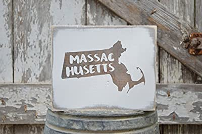 MINI Massachusetts Rustic Wood Signs - Whitewash State Signs - Home State Decor - Personalized State Sign 6x7in