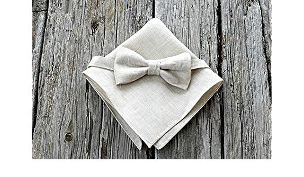 9dc903c09b0a2 Amazon.com: Adjustable Oatmeal Irish Linen Bow Tie and Pocket Square Set:  Handmade