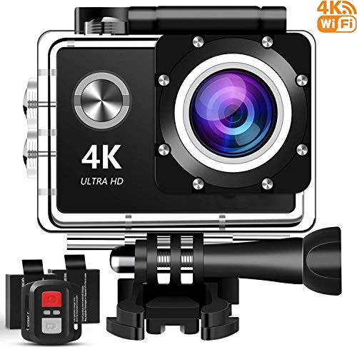 4K Action Camera, 16MP WiFi Ultra HD Underwater Waterproof 30M Sports Camcorder with 170° Degree Wide Angle Lens, 2 Rechargeable Batteries, Remote Control and Mounting Accessories Kits KINGMAZI