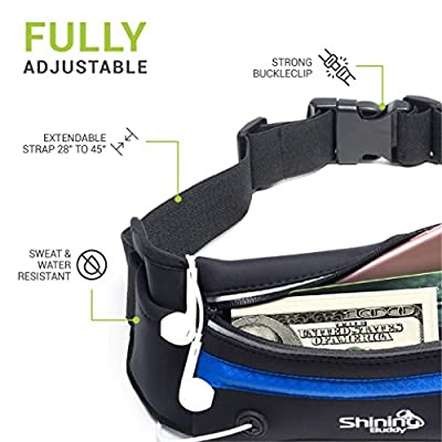 Reflective Running Belt w/ LED Light for Men + Women | Fits Most Waist Sizes ~ No-Bounce Design | Water Resistant - Fits iPhone 6, 7, 8 & More | Black Fitness Jogging Pouch by Shining Buddy