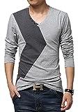 XTAPAN Mens V-Neck Long Sleeve Casual Cotton T-Shirt Fashion Light Grey 3XL