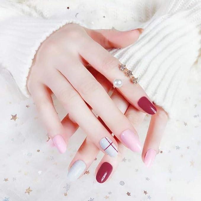 Qulin uñas postizas simple Candy Jump Color redondo uñas falsas de ...