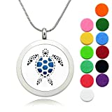 Lademayh Essential Oil Diffuser Aromatherapy Necklace Pendant Baby Turtle Locket Jewelry, Perfume Necklace Diffuser with 2 Styles Chains & 12 Felt Pads