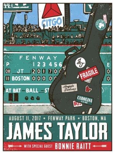 James Taylor & Bonnie Riatt Fenway Park Boston August 2017 Ltd Ed Poster /300