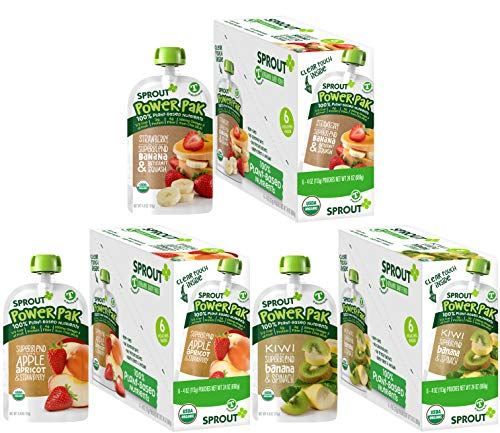 Sprout Power Pak Organic Toddler Food Pouches Variety Pack, 4 Ounce (Pack of 18); Strawberry Banana Butternut Squash, Superblend Apple Apricot & Strawberry, Kiwi Superblend Banana & Spinach