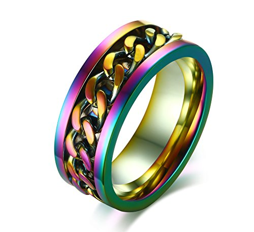 Vnox 8MM Stainless Steel Multi Color Link Chain Inlay Colorful Ring for Men,Size 7-12