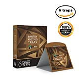 Premium Pantry Moth Traps with Pheromone Attractant - Safe, Non-toxic, Insecticide & Odor Free - 6 Traps (Brown) - Eco Home USA