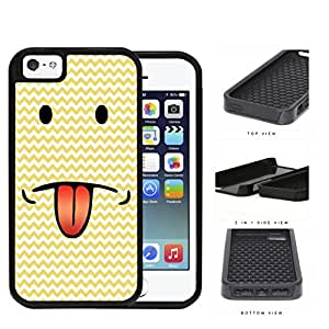 Emoji Smiley Face With Tongue Out Yellow Chevron 2-Piece Dual Layer High Impact Rubber Silicone Cell Phone Case Apple iPhone 5 5s