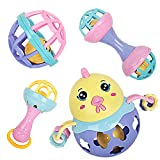 bodolo Baby Rattles Teether Set Shaking Bells Rolling Balls Rattle Toys Gifts for Newborn Infants Baby Boys and Girls
