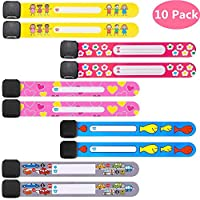 10 Pack Child Safety Kid ID Bracelets Travel Name Wrist Bands for Kids & Parents, Toddler Emergency Wristband Strap Anti Lost for Children, Girls & Boys, Reusable Writable Waterproof Adustable.