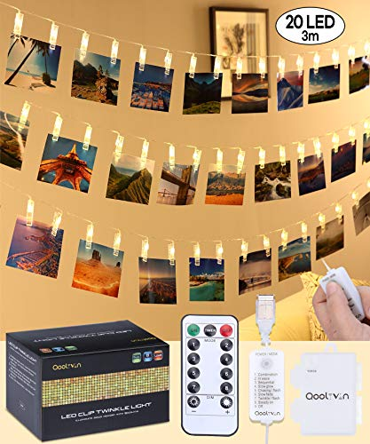 USB Port Photo Clip LED String Lights - Qoolivin Warm White Fairy Lights, Powered Flexibly by 5V Sources (Battery Box, Mobile Charger, Power Bank, etc) [10ft 20 LED Beads]