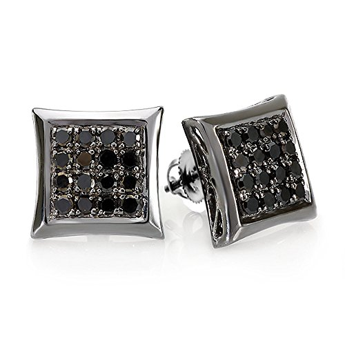 0.75 Carat (ctw) 10K White Gold Black Rhodium Plated Round Diamond Micro Pave Kite Shape Hip Hop Iced Stud Earrings 3/4 CT by DazzlingRock Collection
