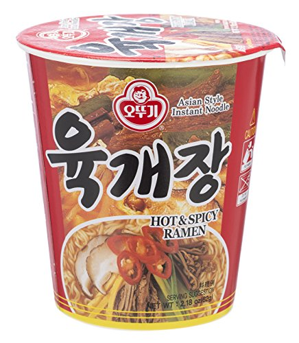 Ottogi Ramen Cup, Spicy Beef Soup (Yukgaejang), 2.18 Ounces (Pack of 12)