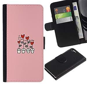 For Apple iPhone 5 / iPhone 5S,S-type® Heart Pink Drawing Cute - Dibujo PU billetera de cuero Funda Case Caso de la piel de la bolsa protectora